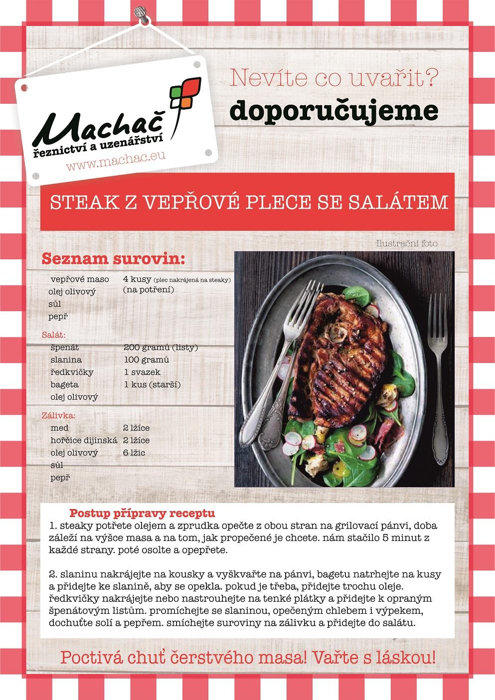 Steak z vepřové plece se salátem